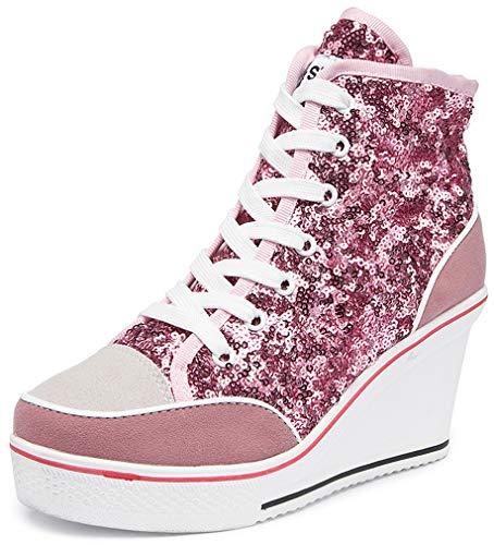 Orlancy Women's Wedge Causal Ankle Top Sneakers High Heels Pink, 40EU/8.5US
