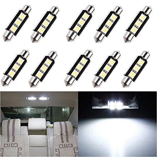 KaTur Lot de 10 ampoules LED SMD 5050 36 mm pour intérieur de voiture avec 3 ampoules LED SMD 5050 Blanc