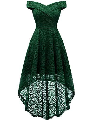 HomRain Midi Elegant Hochzeit Spitzenkleid Rockabilly Kleid Cocktail Abendkleider Floral Kleid für Hochzeit Dark Green M