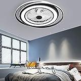 Ventilador De Techo Con Lámpara, 60W Creativo Ventilador Invisible LED Lámpara De Techo Control Remoto Regulable Ultra Silencioso Lata Tiempo Ventilador Lámpara Φ55 * H20cm,Blanco