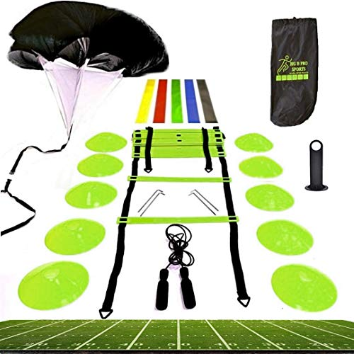 Big B Pro Sports Speed Agility Training Set - Includes Ladder, 10 Cones with Holder, Running Parachute, Jump Rope, Resistance Bands - for Training Football, Soccer, Hockey, and Basketball Athletes.