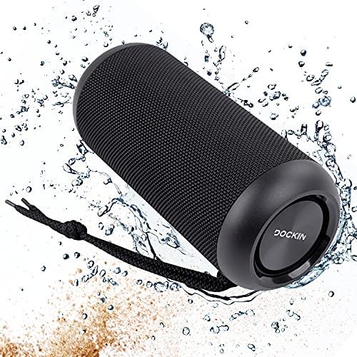 DOCKIN® D Tube 2 Stereo Bluetooth Lautsprecher, 15 Watt Outdoor Speaker mit 10 Std Akku, IPX6 wasserdicht, Kabellose Stereo Soundbox tragbar/portabel/Wireless, Stereo Pairing mit 2 Bluetooth Boxen