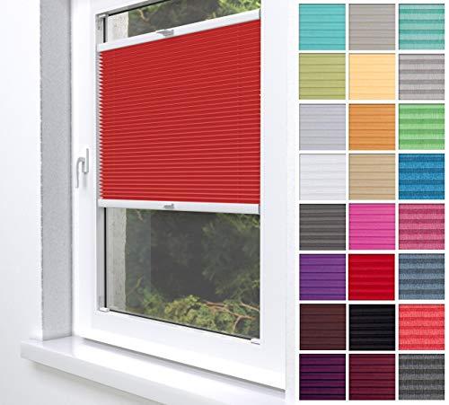 Home-Vision® Premium Plissee Faltrollo ohne Bohren zum Kleben Innenrahmen (Rot, 55 x 120cm) Blickdicht Sonnenschutz Jalousie für Fenster & Tür