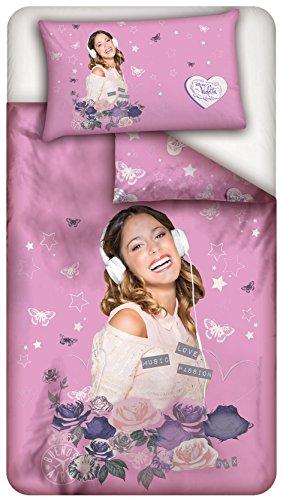 Disney DYLECPI001698AC Lenzuolo Parure Copripiumino, Disegno Violetta Rose