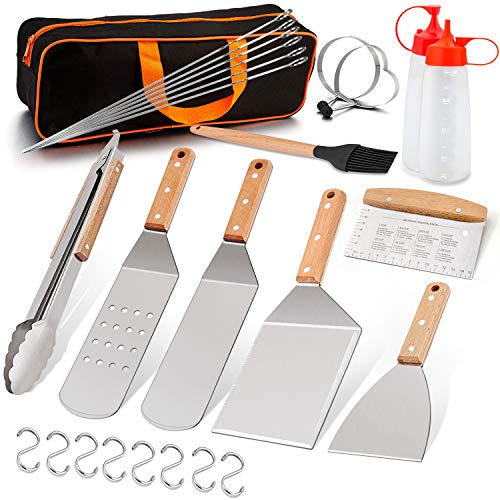 LeonYo Griddle Accessories Set of 27, Heavy Duty Metal Grilling Spatula for Cast Iron Flat Top Teppanyaki Hibachi Cooking, BBQ Burger Spatula Turner Kit, Carrying Bag, Men Gift
