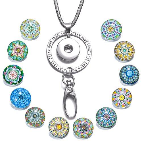 Soleebee 80cm Edelstahl Kette ID Kartenhalter Lanyard Click Button Halskette Passend Schlüssel, ID Abzeichenhalter mit 12 Stück Symmetrische Exotische Glas Click Button (Trust Love)