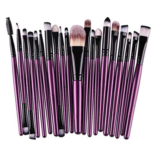 Meslio Lot de 20 pinceaux de maquillage professionnels à la mode - Cadeau de Saint-Valentin (violet + noir)