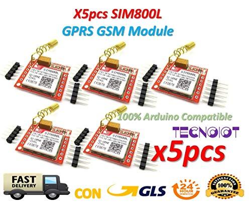 TECNOIOT 5pcs SIM800L GPRS gsm Module PCB Antenna SIM Board Quad Band |5pcs Modulo GPRS SIM800L Scheda gsm Micro SIM Card Quad-Band Porta seriale Ttl con Antenna per Arduino MCU