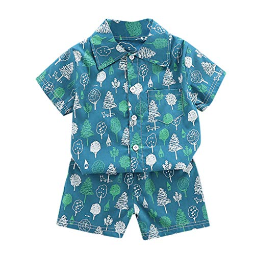 Fineday Outfits Clothes for Boy Girl, Toddler Kid Baby Boys Tree T-Shirt Tops Tee Shorts Pants Clothes Outfits Set, Boys Outfits&Set (Green 3-4 Years)