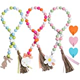 3 Sets Easter Wood Bead Garland with Heart...