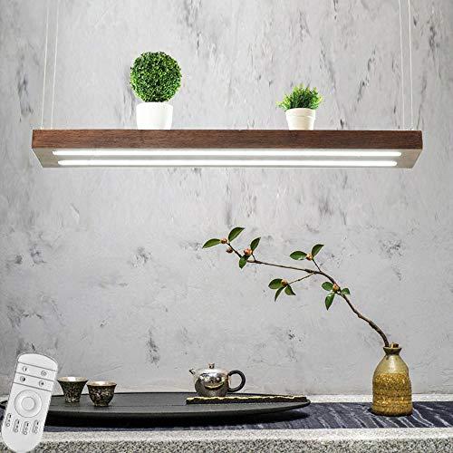 JDDSA LED 54W Moderner Pendelleuchte Dimmbar Pendellampe Höhenverstellbar Holz Hängeleuchte Kronleuchter Lampe für Esstisch Küche Wohnzimmer Bar Cafe,Braun