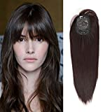 LEKOUUUGU 16Inches Clip In Hair Toppers Hairpieces With Bangs for Women 100% Density Top Hair Pieces Crown Hand Made Toupee Replacement Extentions for Hair (Dark Brown (Slight Purple Outdoors))