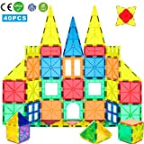 WHIRLT Magnetic Blocks, 40 PCS Magnetic Tiles Building Blocks Toys Set for Kids Preschool Educational Magnet Construction Magnetic Toys for Boys Girls Age 3 4 5 6 7 8 Year Old