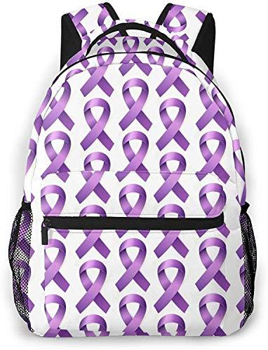 Mochila básica para portátil de viaje con raqueta y bola de squash, mochila escolar de moda, cinta púrpura