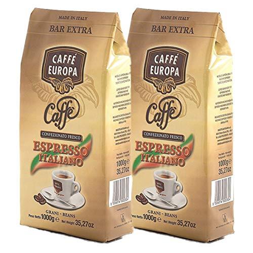Caffè Europa - Caffè in Grani Cremoso dal Gusto Intenso, Miscela Bar Extra 50%Arabica- 50%Robusta, Tostatura Artigianale, 2kg