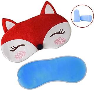Plush Fox Sleeping Eye Mask with Ice Bag & 2 Earplugs, Paciffico Adjustable Strap Eye Cover Funny Blindfold Eye shade for Travel/Nap/Meditation,Red