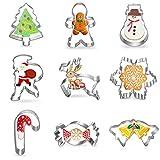 YILEEY 9 PCS Stampi per Biscotti, Set di Formine Biscotti Natalizie in Acciaio Inossidabile. Stampi per Biscotti Bambini. tagliabiscotti, torte, panini, Natale, Halloween. Fiocco di neve.