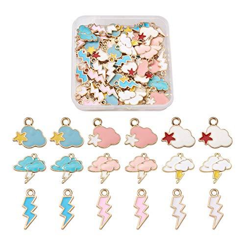 Craftdady 72 colgantes de esmalte con forma de nube y estrella de relámpago, chapados en oro, para collares y pulseras y joyas