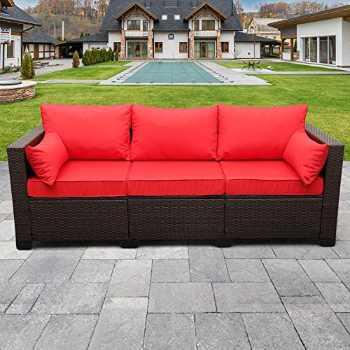 3-Seat Patio PE Rattan Wicker Couch, Outdoor Rattan Sofa Furniture Steel Frame with Furniture Cover and Deep Seat High Back, Red Cushion