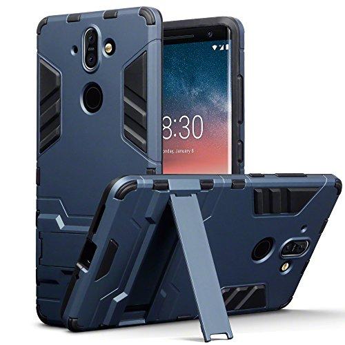 Nokia 8 Sirocco Custodia, Terrapin Silicone e Cover di Policarbonato Rigida con Funzione di Appoggio per Nokia 8 Sirocco Custodia, Colore: Buio Blu