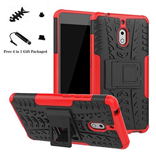 LiuShan Nokia 2.1 Hülle, Dual Layer Hybrid Handyhülle Drop Resistance Handys Schutz Hülle mit Ständer für Nokia 2.1 (Not fit Nokia 3.1) Smartphone,Rot