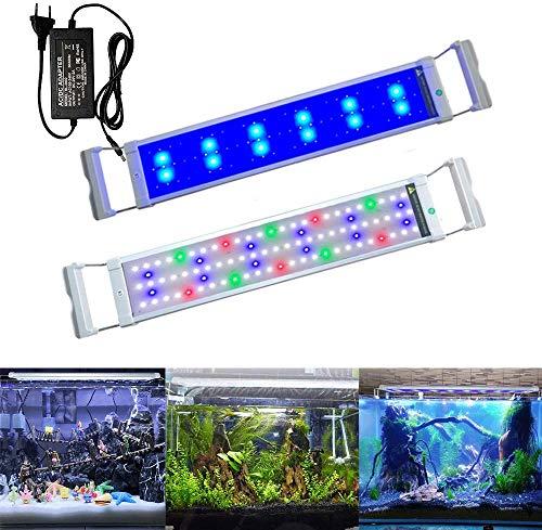 Aufun Aquarium LED Beleuchtung 11W Aquariumbeleuchtung 2 Lichtmodi 90 LEDs Aquariumlampe mit Verstellbarer Halterung aus Alu und Edelstahl für 50-70cm Aquarium, RGB Licht Weiß Blau Rot Grün