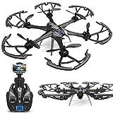 Drone, Grand 4CH 6-Axis Professionnel WiFi FPV WiFi caméra HD Drone à Distance, caméra 5MP jusqu'à 200M, Mode sans tête/Retour à Un Bouton/Mode Fixe/Follow me