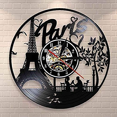 hhhjjj Regalos para Hombres Torre Eiffel de París Decoración de Pared Horizonte de Francia Reloj de Pared con Disco de Vinilo Regalos de Viaje de Amor de París