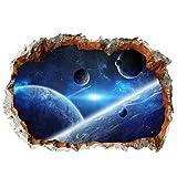 Garneck Planeta 3D Etiqueta de La Pared Rota Espacio Galaxy Peel Stick Calcomanías Papel Tapiz Mural para Niños Decoración de La Habitación Del Cuarto de Niños