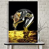 HD Printed on Canvas-[Abstract Golden Liquid Female Hair] Canvas Wall Art-Wall Art for Home Office Decorations 50X70cm Frameless