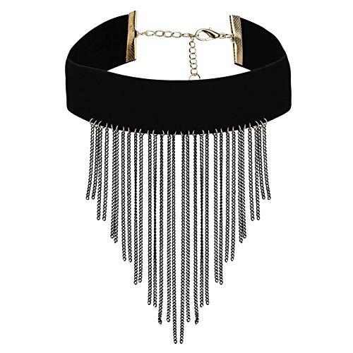 AnazoZ Collar Borla Larga Collar Colgante Aleación Mujer Collar Negro