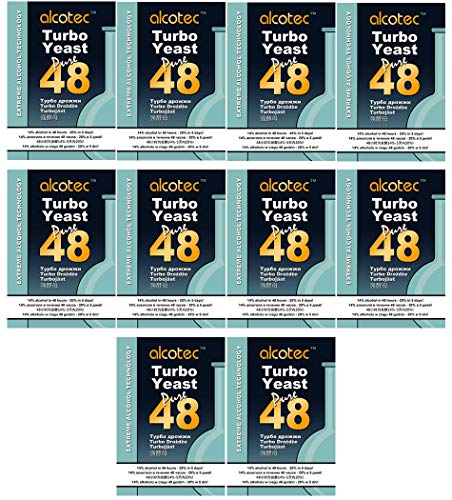 AlcoTec 10x Turbohefe 48h Dual, bis 21% Alkohol (10 Packungen)