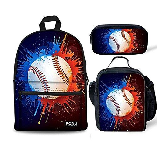 HUGSIDEA Schulranzen Blau Baseball Pattern Set Large