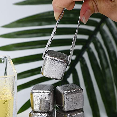 Cubo de hielo de acero inoxidable 304 reutilizable enfriador congelado roca piedra cubo de hielo para whisky vino bebida jugo