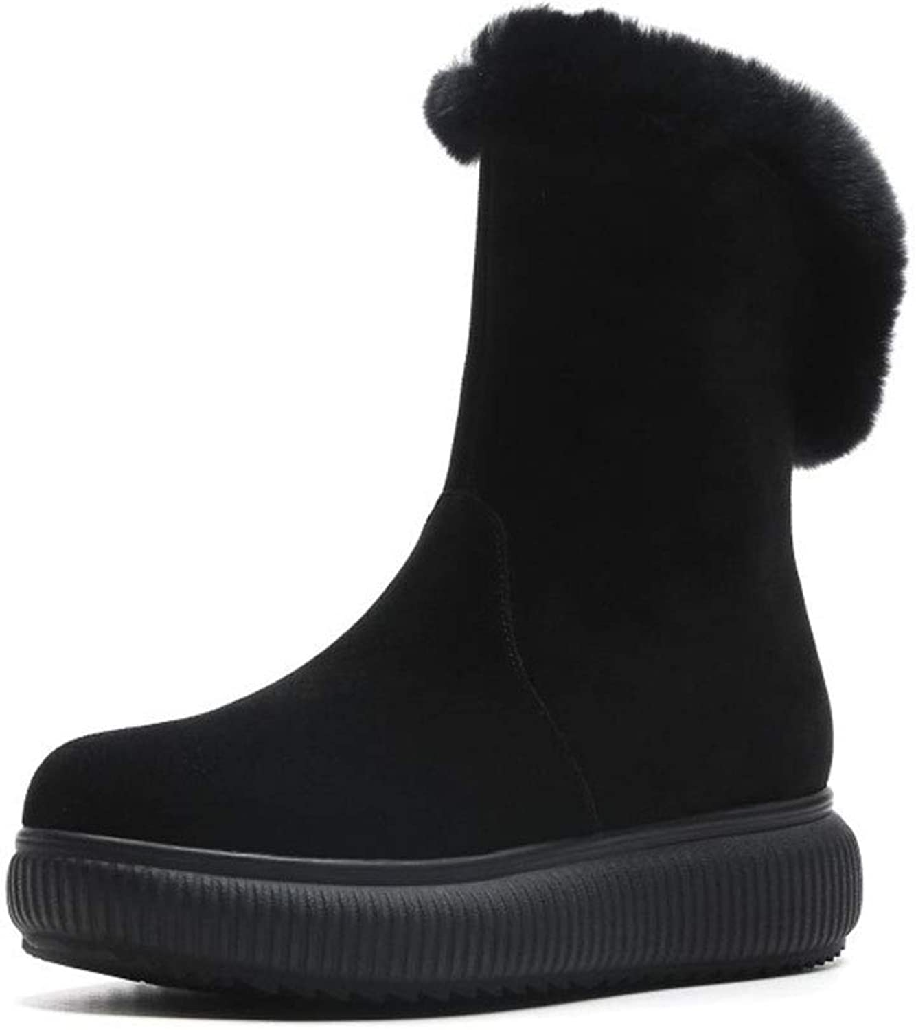 Women's Boots Winter Platform shoes Suede Snow Boots Cotton Boots Warm Boots Leather Non-Slip Ladies Boots (color   Black, Size   36)