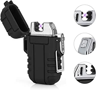 Plasma Arc Lighter Waterproof Windproof Survival USB Rechargeable Electric Lighter Flameless for Outdoor Camping Hiking (Black)