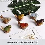 6 unids / lote Decoración de cerámica para el hogar Decoración Decoración de mesa Lindo pájaro de cerámica Artesanías artísticas Modelo de hogar Adornos artificiales realistas Objeto Modelo de arte, gris claro, China