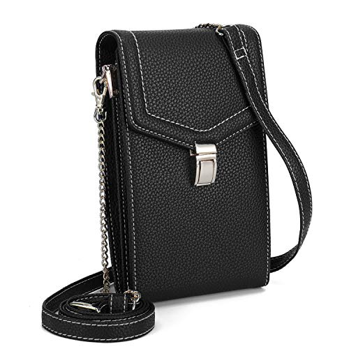 seOSTO Cell Phone Purse, Lightweight Small Wallet Purses and Handbags with 2 Shoulder Strap for Women (Black)