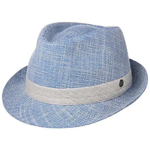 Lierys Delamon Trilby Damen/Herren - Made in Italy - Gefütterter Stoffhut - Sommerhut mit Garniturband und Baumwolle - Fedora-Hut mit Futter - Frühjahr/Sommer blau XL (60-61 cm)