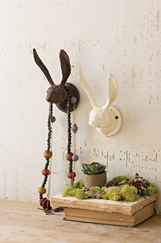 KALALOU Rustic Cast Iron Rabbit Wall Hook, One Size, Brown