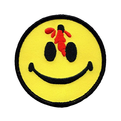 Large Bloody Bullet Smiley Face Patch Happy Smile Embroidered Iron On Applique