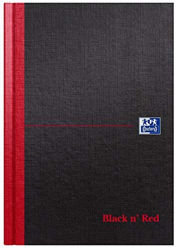 Oxford Black n' Red 100080459 - Cuaderno de tapa dura (con rayas, 192 páginas, A5, 90 g/m², incluye marcapáginas), color rojo y negro