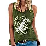 Round Neck Animal Print Loose Tank Top Fashion Women Casual Loose Sleeveless Striped Print Sweatshirt Tops Green M