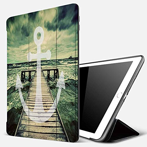 iPad 9.7 inch 2017/2018 Case/iPad Air/Air 2 Cover,Anchor Print in Ocean Waves with Long Wooden Pier Cloudy Sky 3D Effect Print Design,PU Leather Shockproof Shell Stand Smart Cover with Auto Wake