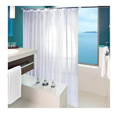 AiZnoY Polyester Duschvorhang Anti-Schimmel Wasserdicht An Badewanne Bad Vorhang Für Badezimmer Inkl. 12 Duschvorhangringen Einfach Transparent 260X200Cm