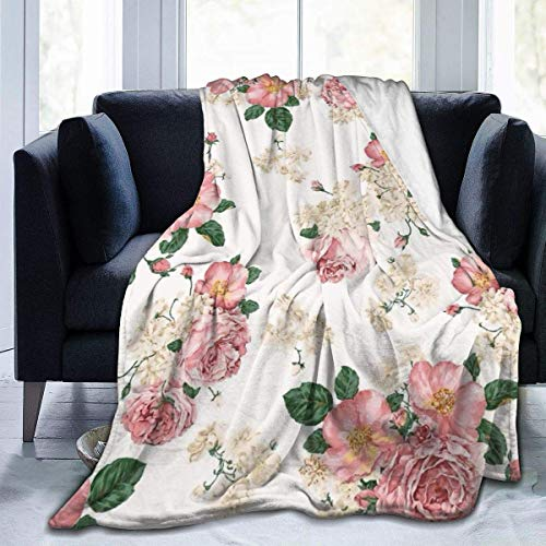 AEMAPE Manta de Tiro Flores Primavera Vintage Alfombra térmica Colchas de Oficina para Mujeres Alfombra de Dormir Duradera Cojín de Franela Cubierta para Invierno 50 'x 60'