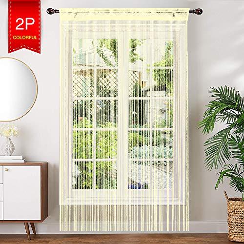 AIZESI Retro PlainTassel deur gordijn vliegen insecten scherm String voor deuropeningen Divider of venster gordijn paneel 90x200cm, Fly Screen Panel