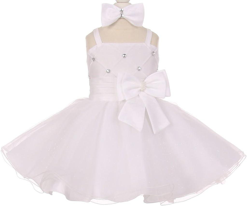 Little Baby Girls Beaded Bow Flared Tulle Special Flower Girls Dresses