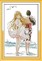 刺繡スターターキット刻印クロスステッチキットDIY11CT刺繡の美しい海の画像簡単で面白いプレプリントパターン16x20インチ