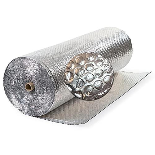 FRJKF Motivo A Bolle in Alluminio, Pannelli Isolanti Autoadesivi in caucciù, Lamina Termoriflettente, per Avvolgere Tubi Isolamento Termico Termosifoni Tetti Pareti Pavimenti(Size:1x25m 3.2x82ft)